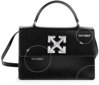 Off-White Jitney 1.4 Cut Here Leather Top Handle Bag