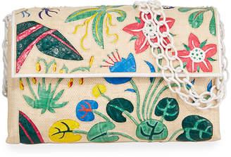 Nancy Gonzalez Madison Floral Crocodile Shoulder Bag