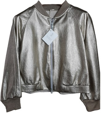 Brunello Cucinelli Gold Leather Leather Jacket for Women