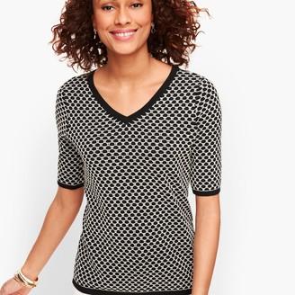 Talbots Jacquard Dot Double V-Neck Sweater