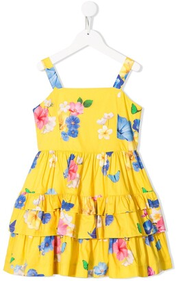 Lapin House Flower Print Tiered Dress