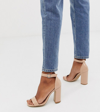 New Look barely there block heeled sandal in beige patent