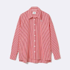 Lacoste Live Boxy Fit Striped Cotton Shirt - 34 / ROJO / WOM