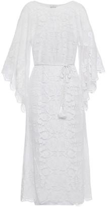 Miguelina Tassel-trimmed Cotton Guipure Lace Midi Dress