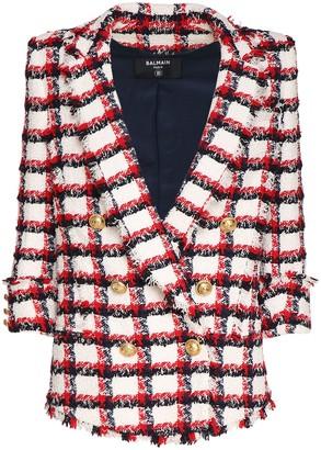 Balmain Checked Wool Blend Tweed Jacket