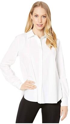 Lysse Connie Slim Fit Stretch Microfiber Button-Down Shirt (Black) Women's Clothing