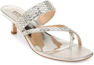 Badgley Mischka Zena Embellished Kitten Heel Sandal
