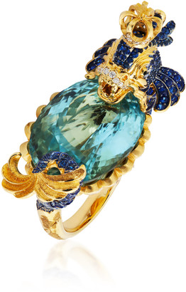 Lydia Courteille Dolphin 18K Yellow Gold Multi-Stone Ring
