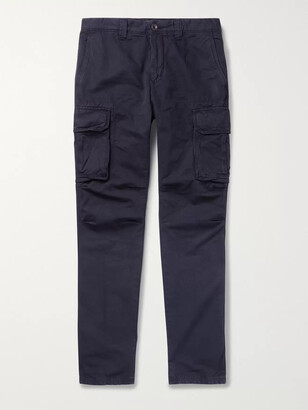 Incotex Slim-Fit Cotton and Linen-Blend Cargo Trousers - Men - Blue