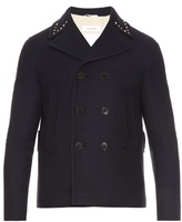 Valentino Rockstud-trim Wool Pea Coat