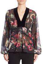 Roberto Cavalli Silk Velvet Floral Blouse