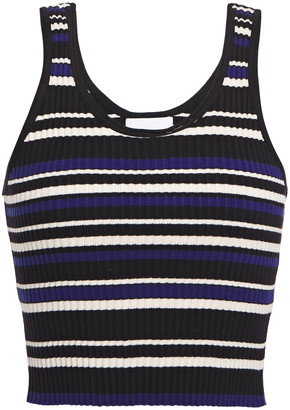 3.1 Phillip Lim Cropped Striped Ribbed-knit Tank