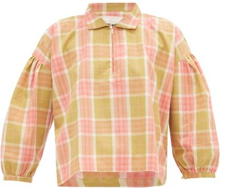 Story mfg. Amber Checked Organic Cotton-canvas Blouse - Pink Multi
