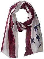 D&Y Women's Americana Flag with Flower Print Scarf