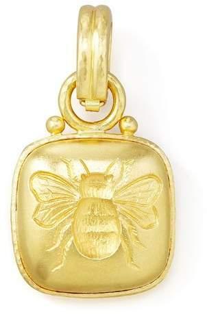 Elizabeth Locke 19k Cushion Gold Bee Pendant