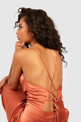 boohoo Satin Cowl Neck Lace Up Fish Tail Midi Dress