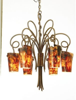 Kalco Tribecca 6 - Light Shaded Classic / Traditional Chandelier Kalco Finish: Antique Copper, Shade: Tribecca Antique Filigree Side Glass