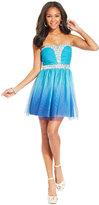 As U Wish Juniors' Rhinestone-Trim Ombre Dress