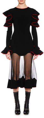 Alexander McQueen Long-Sleeve Shoulder-Ruffle Cocktail Dress with Sheer Hem Skirt