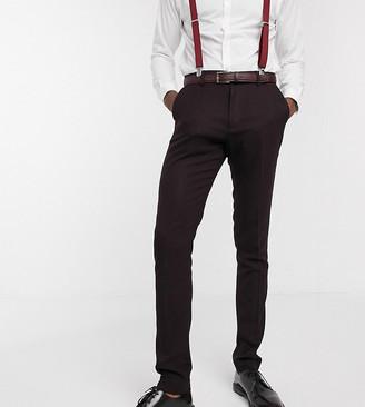 ASOS DESIGN Tall wedding skinny suit pants in wool look in burgundy