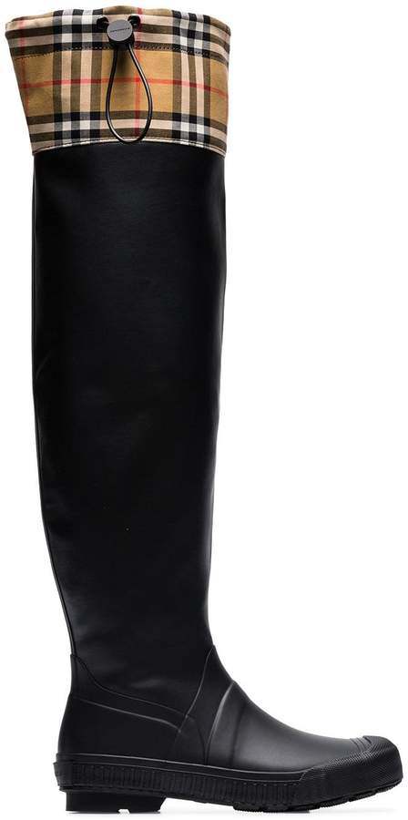 Burberry Vintage check and rubber knee-high rain boots