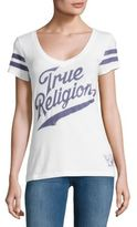 True Religion Striped-Sleeve Printed Tee