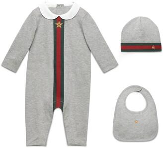 Gucci Baby Web print three-piece gift set