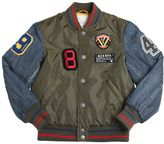 Diesel Nylon & Denim Bomber Jacket With Patches