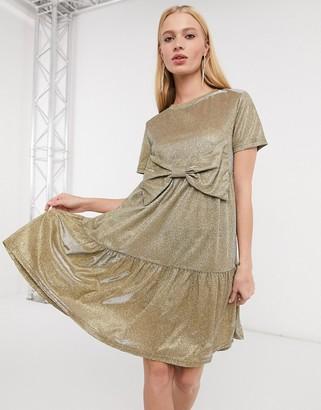 Urban Threads bow front drop hem smock dress