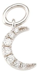 Ef Collection 14K White Gold & Diamond Moon Single Earring Charm