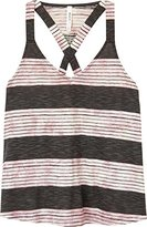 RVCA Junior's Duska Stripe V Neck Top