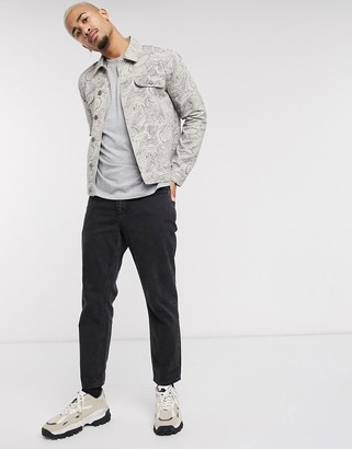 ASOS DESIGN denim jacket with all over print in stone