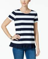 Charter Club Striped Tie-Back Ruffle Top, Created for Macy's