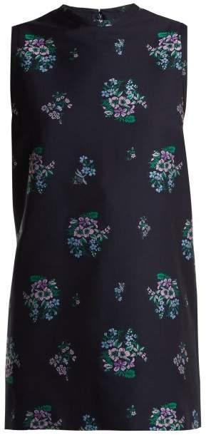 Gucci Floral Jacquard Cotton Blend Tunic Top - Womens - Dark Blue