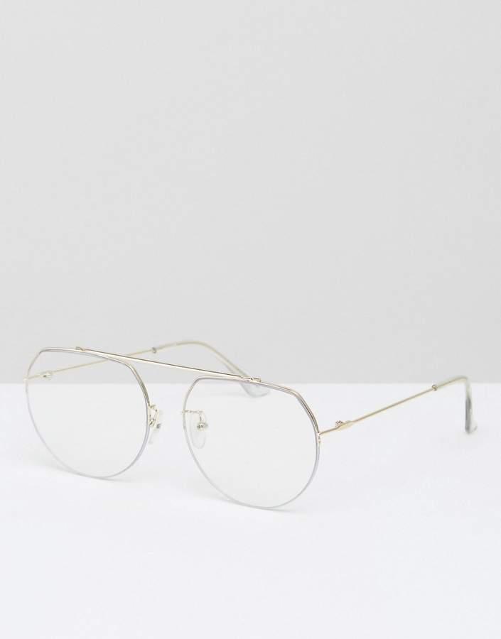 Asos Design High Bar Clear Lens Geeky Aviator Glasses