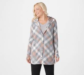 Cuddl Duds Comfortwear Snap Front Hooded Cardigan
