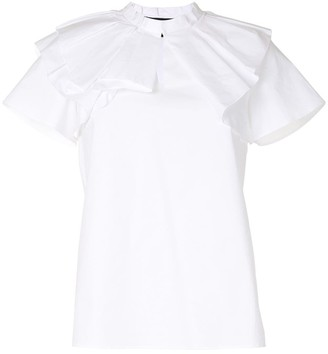 Paule Ka Ruffle-Neck Short-Sleeve Top