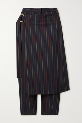 Palmer Harding Lina Layered Pinstriped Stretch-twill Tapered Pants - Navy