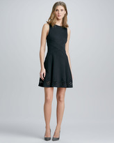 Embroidered-Hem Flare Dress