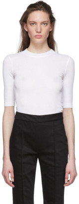 Rosetta Getty White Cropped Sleeve T-Shirt