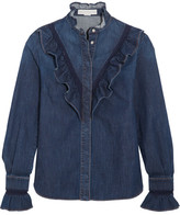 Stella McCartney Lace-trimmed Ruffled Denim Shirt - Mid denim