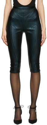 Thierry Mugler Black Sheen Embossed Cycling Shorts