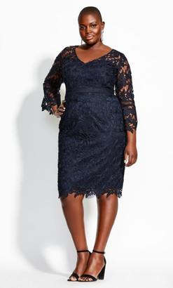City Chic Lace Catch Dress - navy