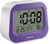 Peakeep Gradually Louder Nature and Animal Sounds Alarm Clock with Adjustable Snooze Time and Nightlight, Dual Power Supply, Battery Backup (Purple)