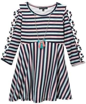 My Michelle mymichelle Lattice Sleeve Striped Dress & Necklace (Big Girls)