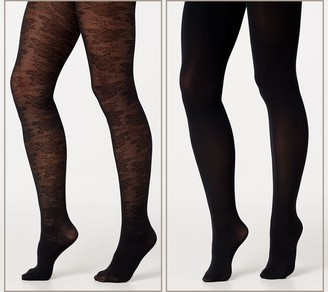 Legacy Lace and Solid Control Top Tights 2 Pack