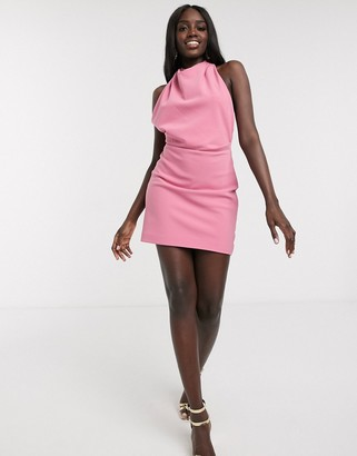 Finders Keepers mae backless halterneck mini dress in pink
