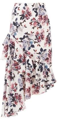Erdem Antoinette Asymmetric Floral Silk-crepe Skirt - Womens - White Multi