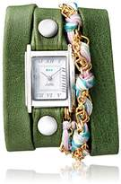 La Mer Women's 'Multi Chain' Quartz Stainless Steel Case Back, Nickle Free Mixed Metal Alloy and Leather Watch