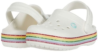 Crocs Crocbandtm Rainbow Glitter Clog (Toddler/Little Kid/Big Kid) (White) Girl's Shoes